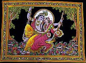 "Krishna Mart India Lord Krishna & Goddess Radha Sequin Sitara Batik Cotton Wall Tapestry 40"" X 30"""