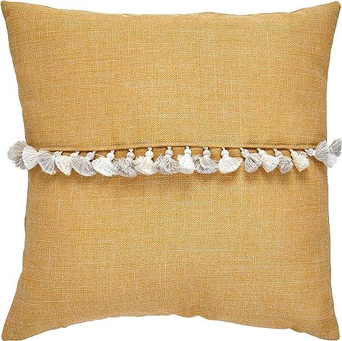 Amazon Brand Rivet Contemporary Tassel Throw Pillow – 17 x 17 Inch, Mustard