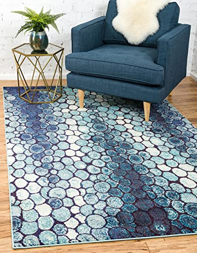 Unique Loom Estrella Collection Modern Abstract Blue Area Rug 9' 0 x 12' 0