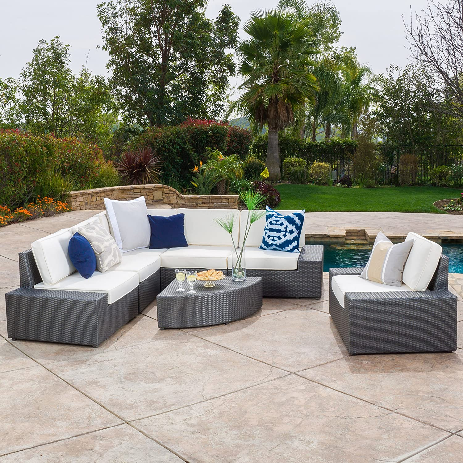 Amazon com great deal furniture santa cruz outdoor 7 piece grey wicker sofa set with cushions garden outdoor