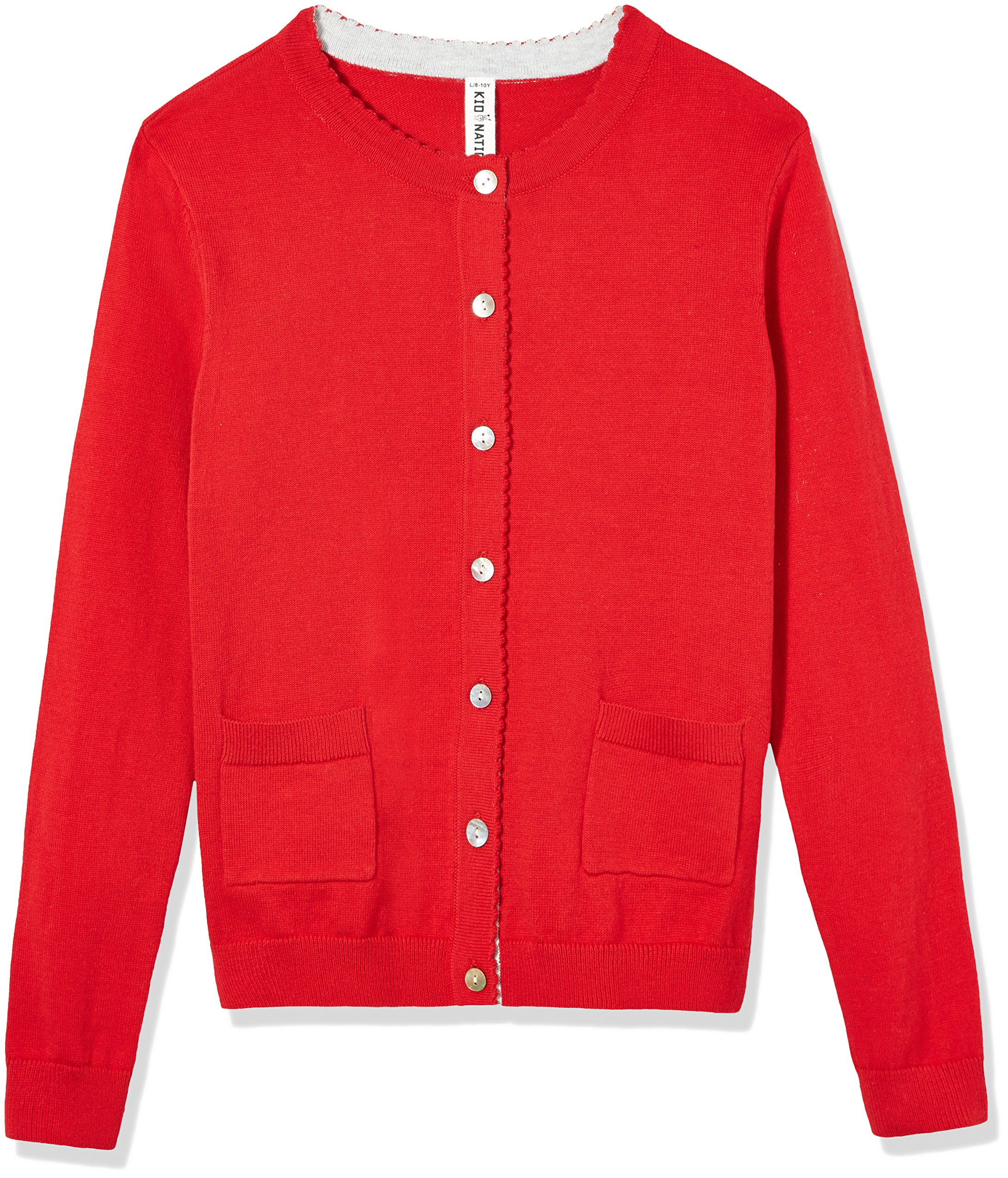 Kid Nation Girls' Long Sleeve Cardigan Sweater Classic with Pocket S Red