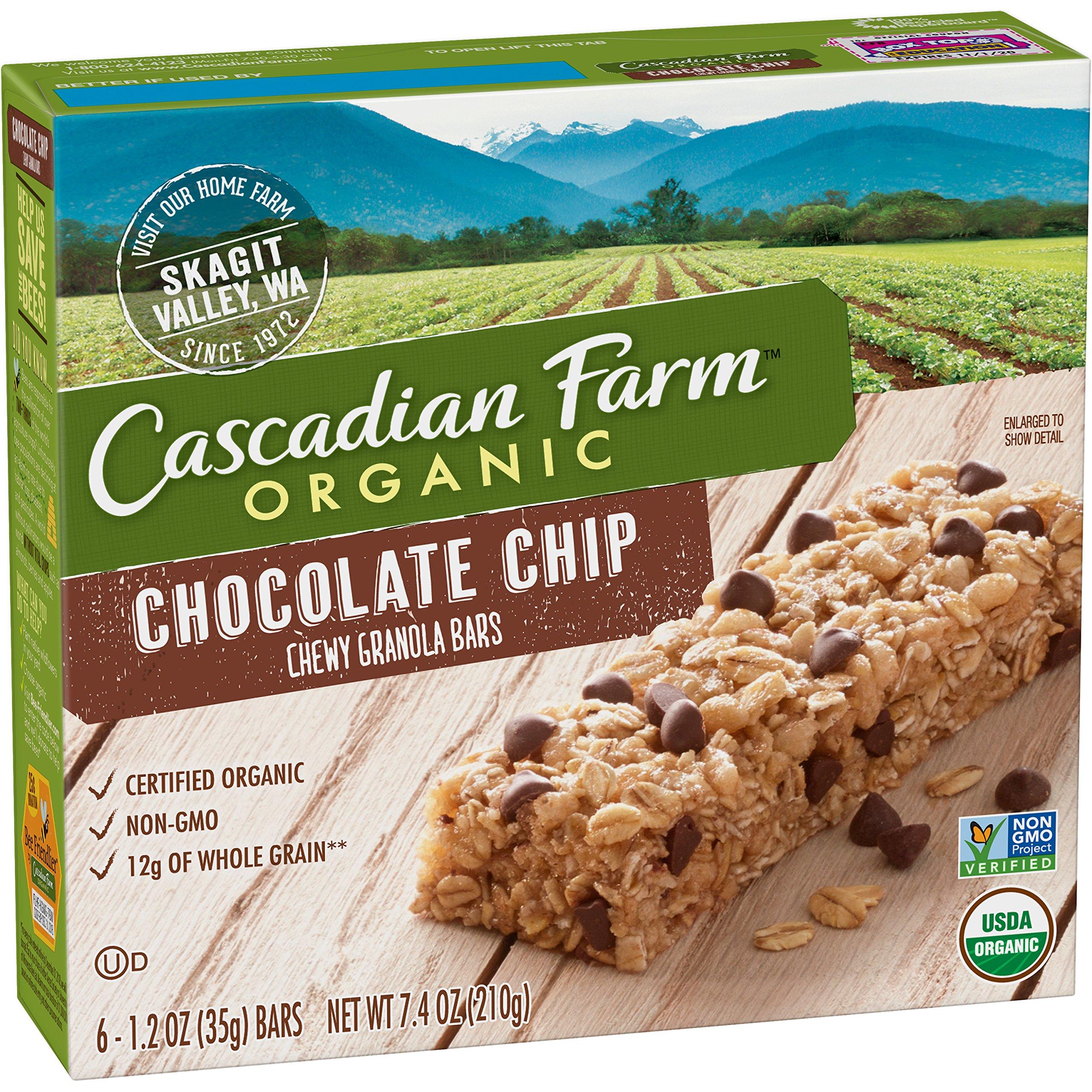 Cascadian Farm Organic Granola Bars, Chocolate Chip Chewy Granola Bars, 6 Bars (Pack of 6) by Cascadian Farm