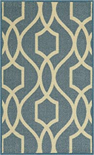 product image for Maples Rugs 1'8 x 2'10 Non Skid Washable Throw Rugs [Made in USA] for Entryway and Bedroom, Blue