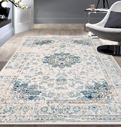 Rugshop Traditional Persian Area Rug 5 x 7 Blue
