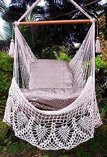hammock chair cotton beige 100  handmade with crochet edge  indoor outdoor chair hammock  amazon    hammock chair  home  u0026 kitchen  rh   amazon