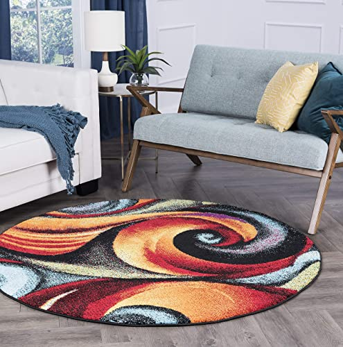 Susan Contemporary Abstract Multi Round Area Rug, 8 Round