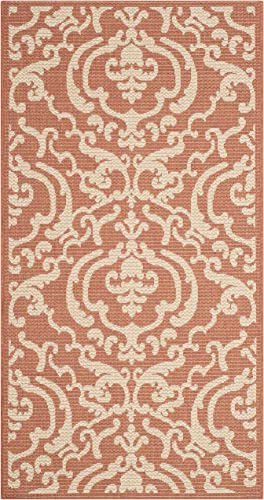 Safavieh Courtyard Collection CY2663-3202 Terracotta and Natural Indoor Outdoor Area Rug, 2-Feet by 3-Feet 7-Inch