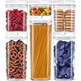 DuraHome - Airtight Food Storage Containers 6 Piece Set - BPA Free Durable Clear Acrylic Container with Innovative FlipLock Air Tight Handle Lid for Dry Goods Pantry Organization (Square)