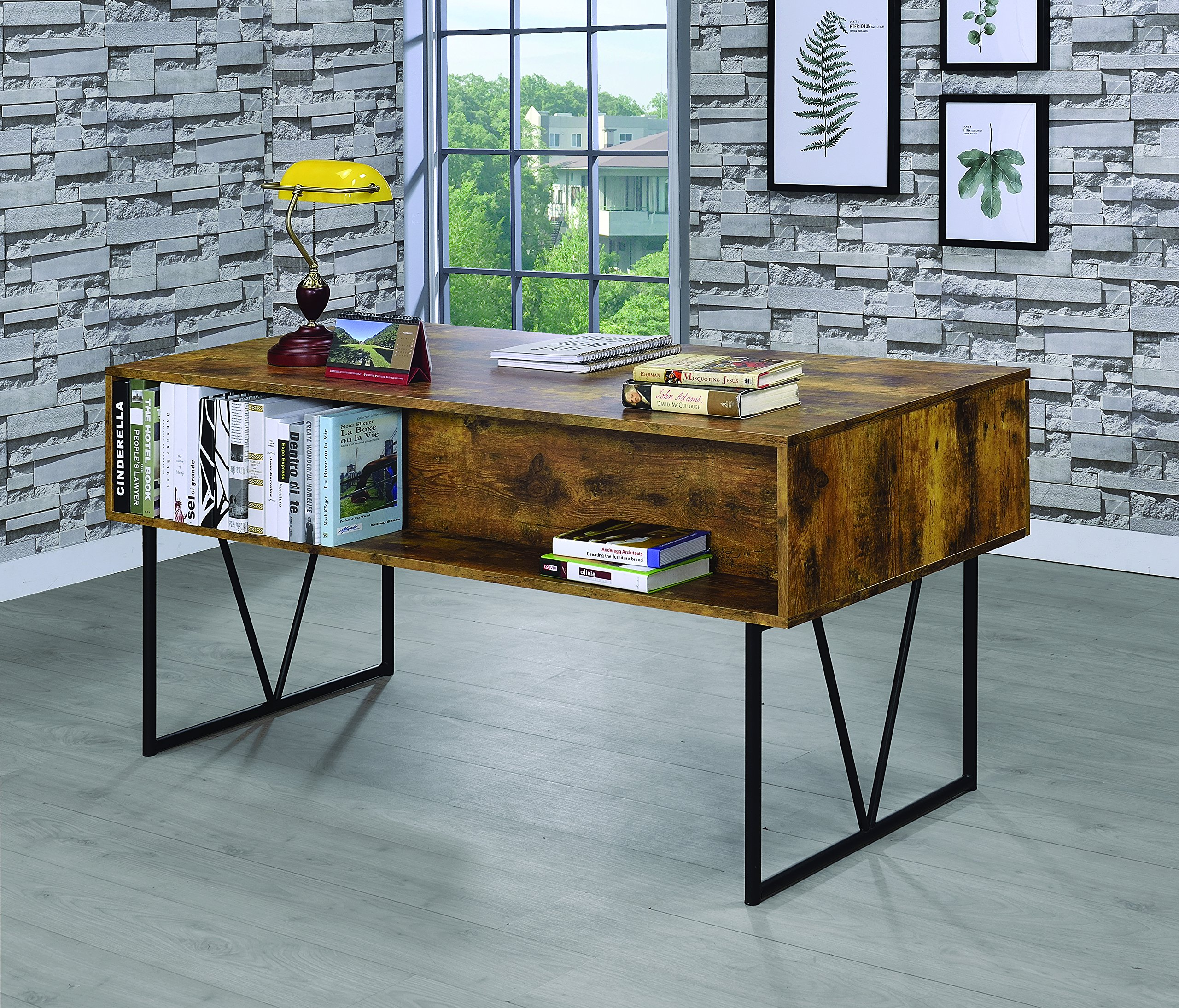 Coaster Home Furnishings  Analiese Rustic Industrial Four Drawer Writing Desk - Antique Nutmeg