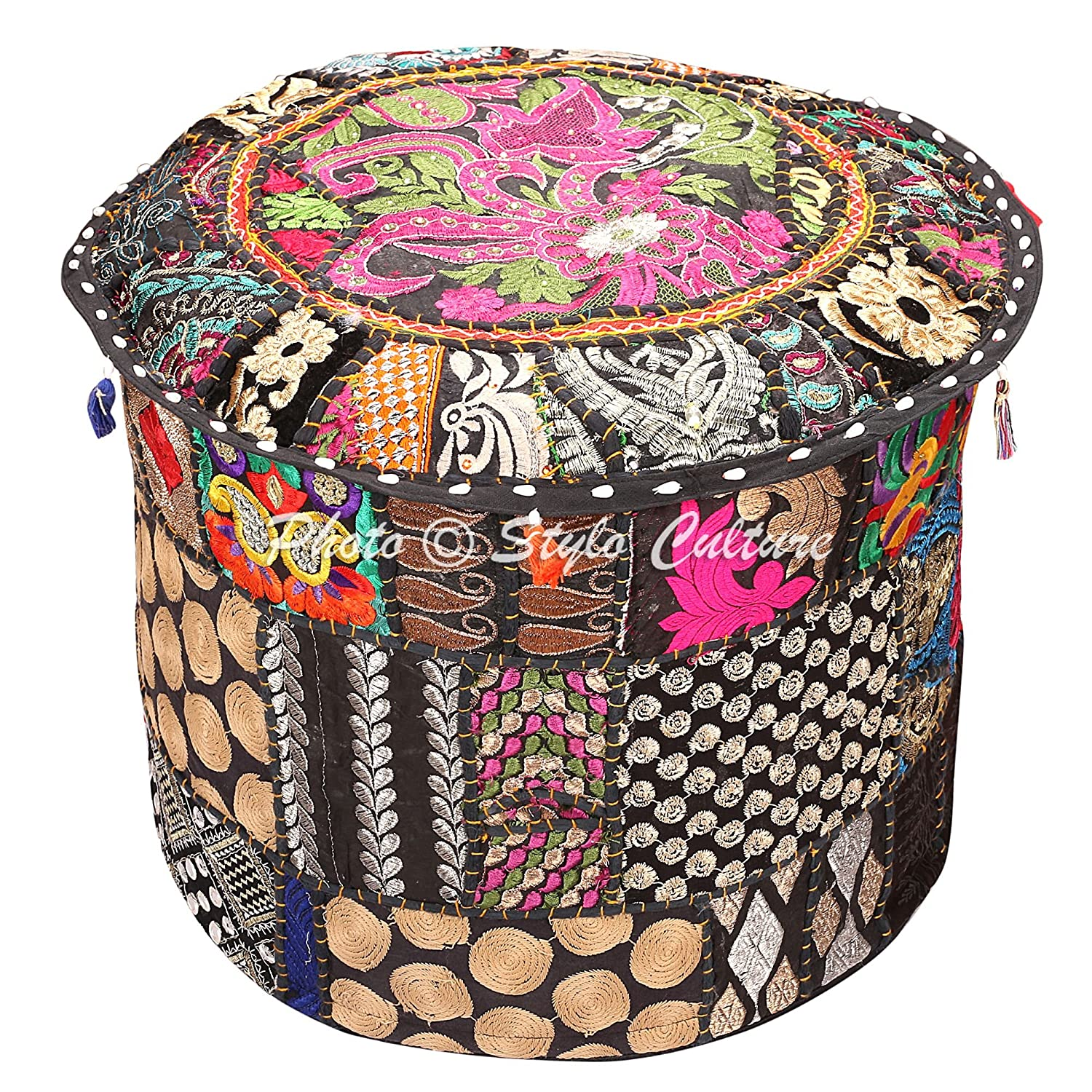 Indian Floor Ottoman Pouf Cover Round Patchwork Embroidered Pouffe Ottoman Cover Black Cotton Floral Traditional Furniture Footstool Seat Puff Cover (16x16x13) by Stylo Culture SC-POUF00110