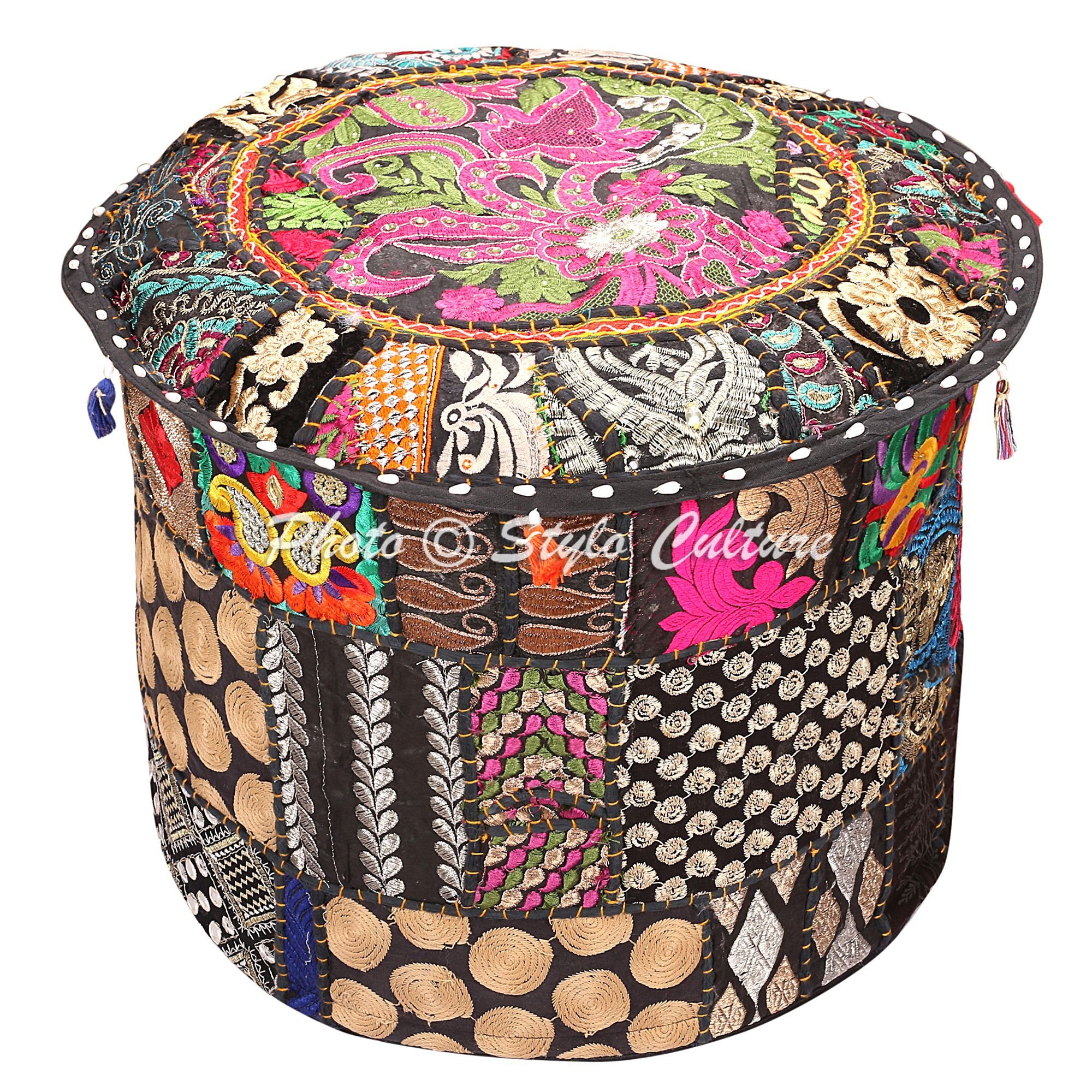 Stylo Culture Indian Floor Ottoman Pouf Cover Round Patchwork Embroidered Pouffe Ottoman Cover Black Cotton Floral Traditional Furniture Footstool Seat Puff Cover (16x16x13)