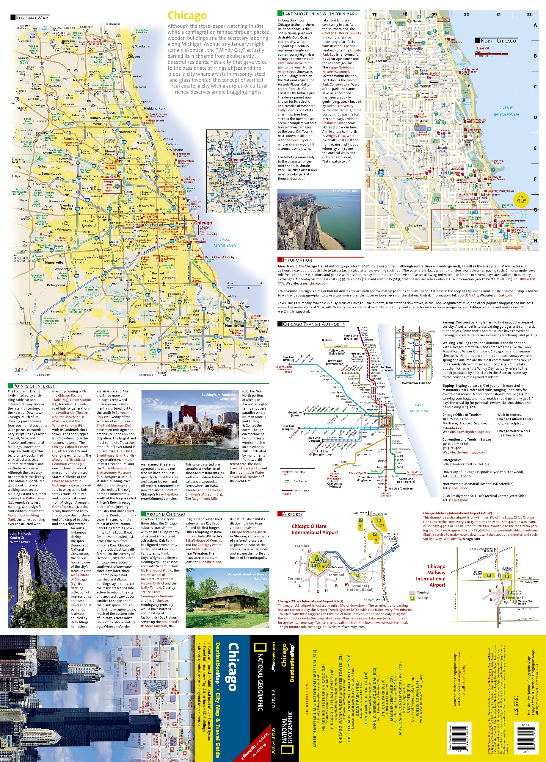Chicago National Geographic Destination City Map National - Chicago map amazon