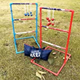 JAPER BEES Strong Ladder Ball Toss Game Set, Outdoor Lawn Game with 6 Bolo Balls Fasion Carrying Bag