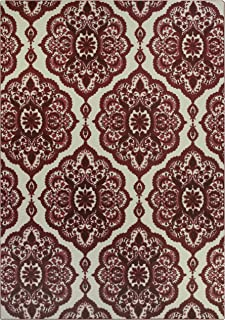 product image for Maples Rugs Vivian Medallion Area Rugs for Living Room & Bedroom [Made in USA], 7 x 10, Garnet Red