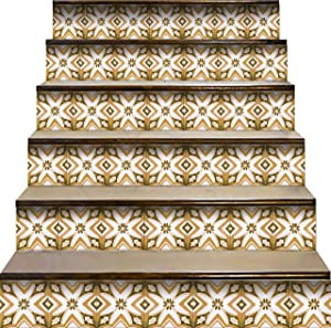 Mi Alma Peel and Stick Tile Backsplash Stair Riser Decals DIY Tile Decals Mexican Talavera Home Decor Staircase Decal Tile Stickers Decals 7''W x 7''L (Set of 24) (Scandinavian Design)