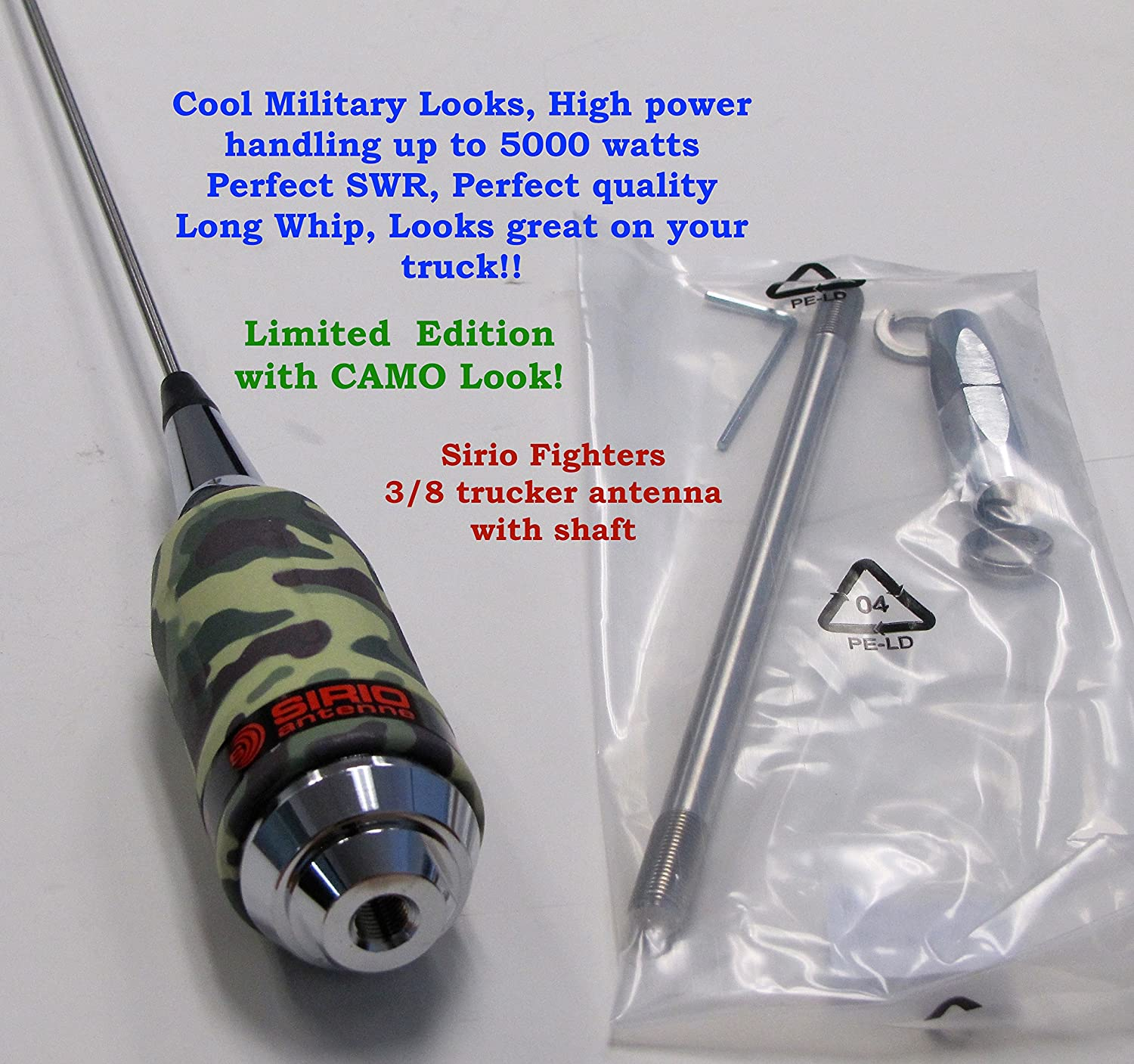 Amazon.com : Sirio Antenna Fighter 5000 42071 10M & Cb 5000 Watts Trucker Antenna (for 42071 24 Mount) - Limited Edition with Military Look!
