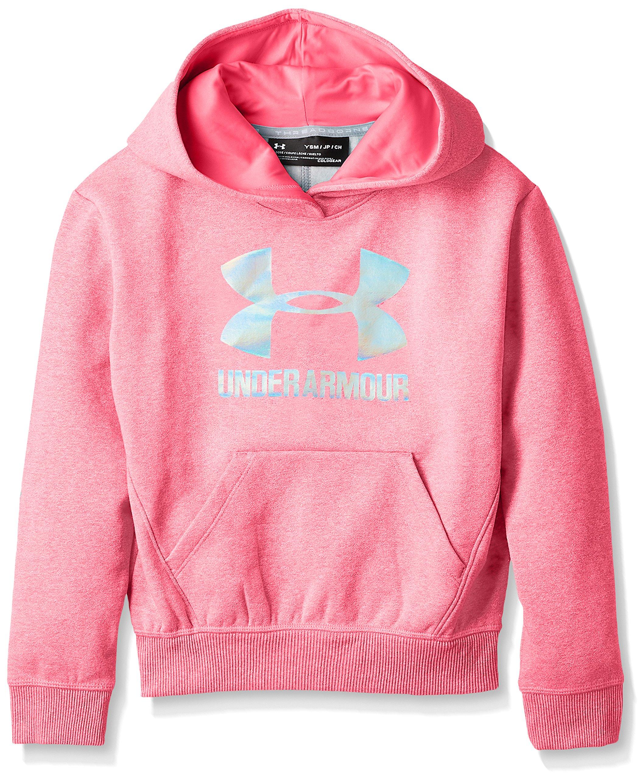 Under Armour Girls Threadborne Fleece Hoodie,Penta Pink /Silver, Youth X-Small