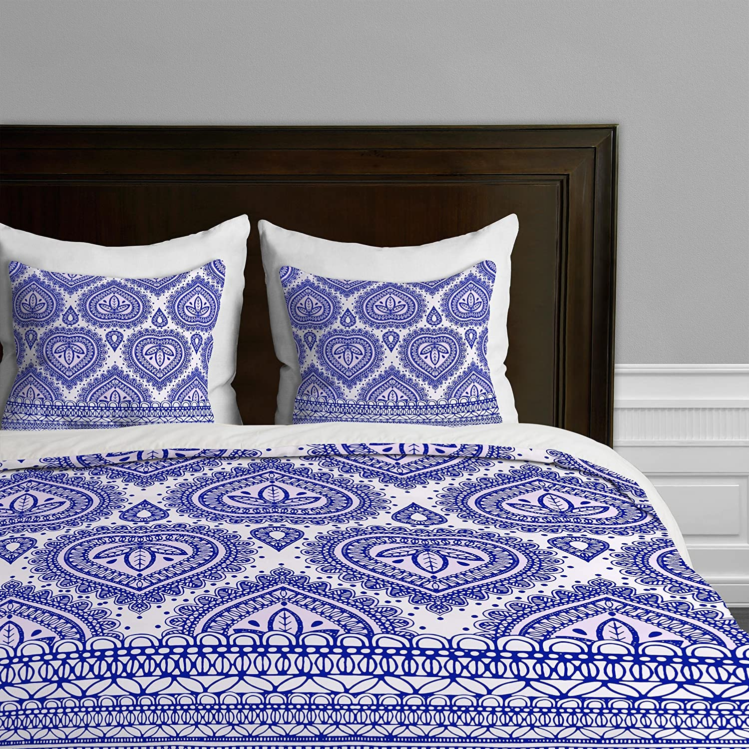 Decorative bluee King Deny Designs  Aimee St Hill Big Leaves bluee Duvet Cover, Queen