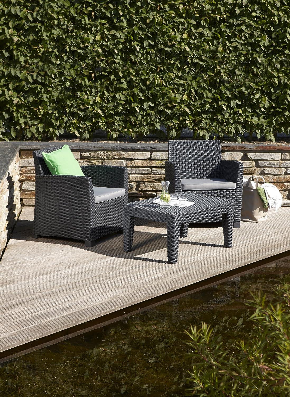 Allibert 212429 Corona Balcony Salon de jardin avec 2 fauteuils, 1 ...