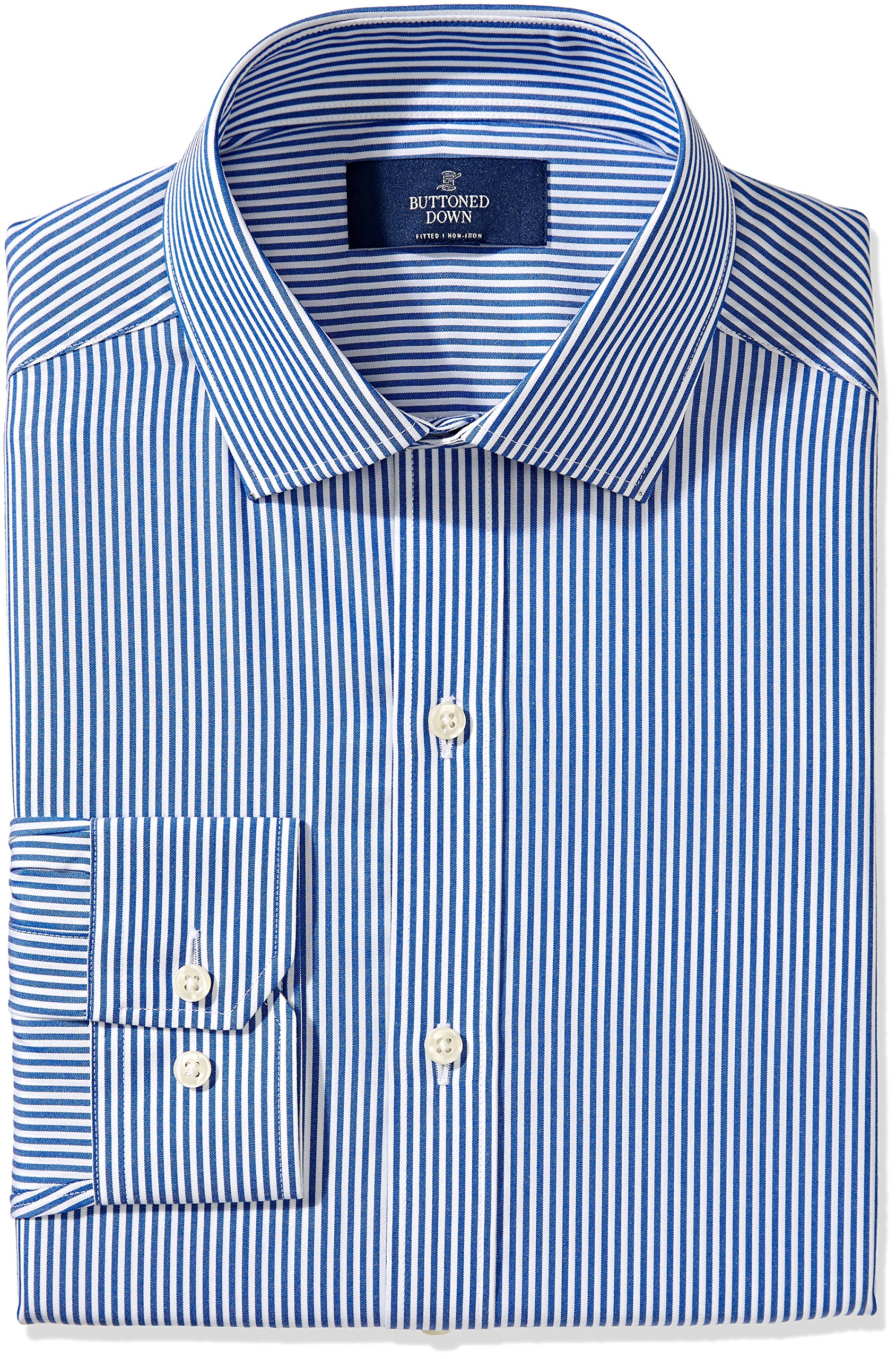 Buttoned Down Men's Fitted Spread-Collar Non-Iron Dress Shirt, Blue Bengal Stripe, 17.5'' Neck 36'' Sleeve