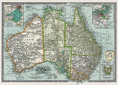 Cavallini & Co. Australia Map Decorative Decoupage Poster Wrapping Paper  Sheet
