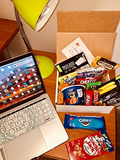 Deserved Happiness Finals Power Care Package Snack Gift Box - Gift Basket filled with Chips,