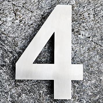 Moderne Hausnummern Edelstahl qt moderne hausnummer groß 25 4 zentimeter gebürsteter