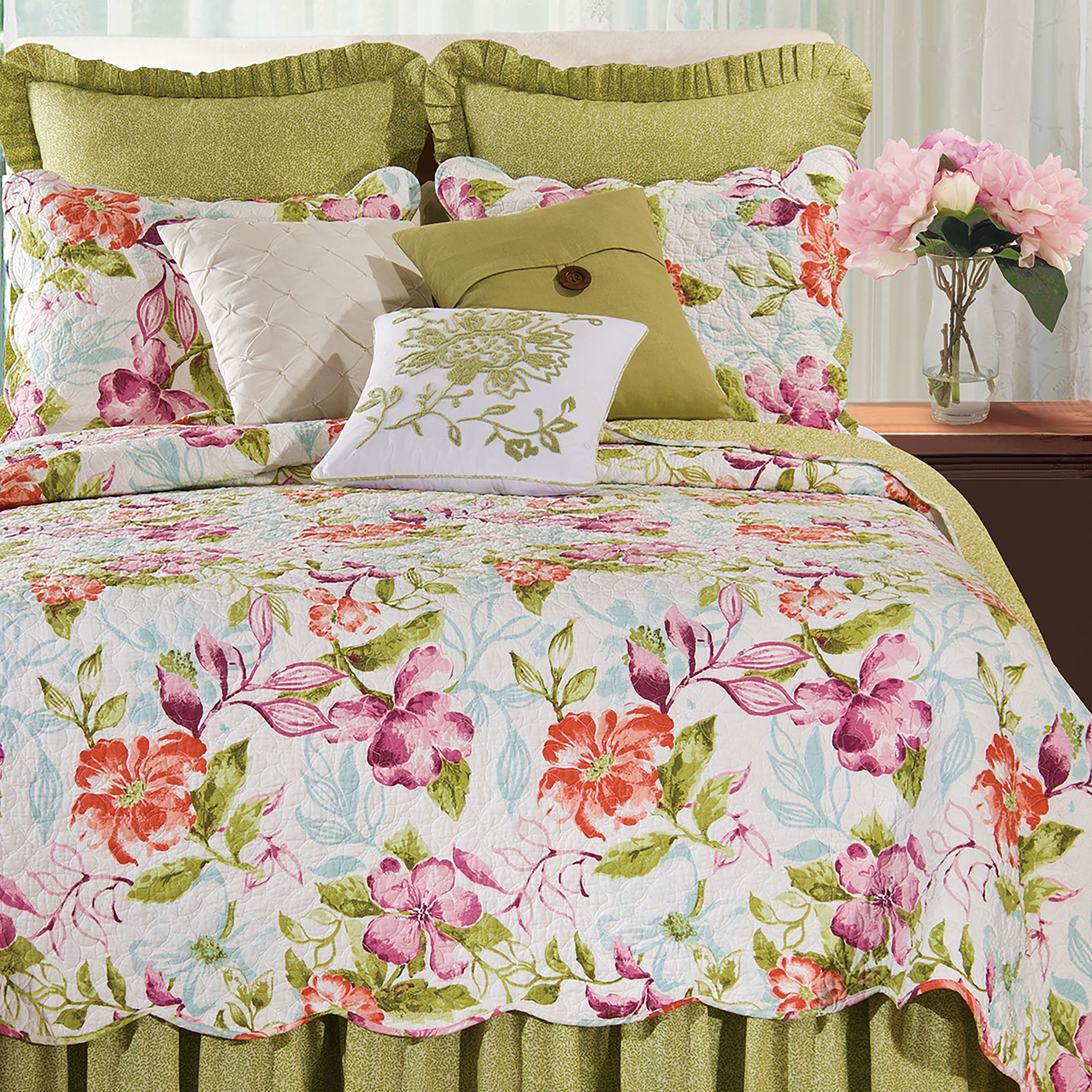 Color Blooms Quilt, Multi, King Quilt by C&F Home