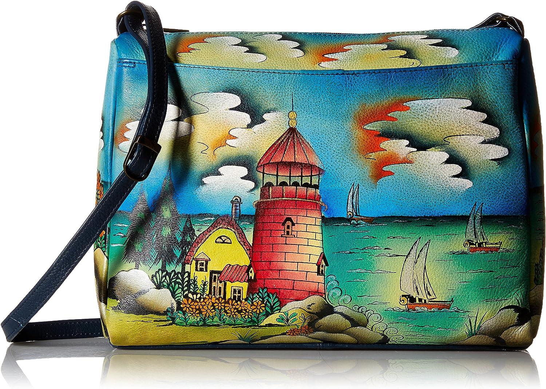 Anna by Anuschka Genuine Leather East West Crossbody Bag | Hand-Painted Original Artwork