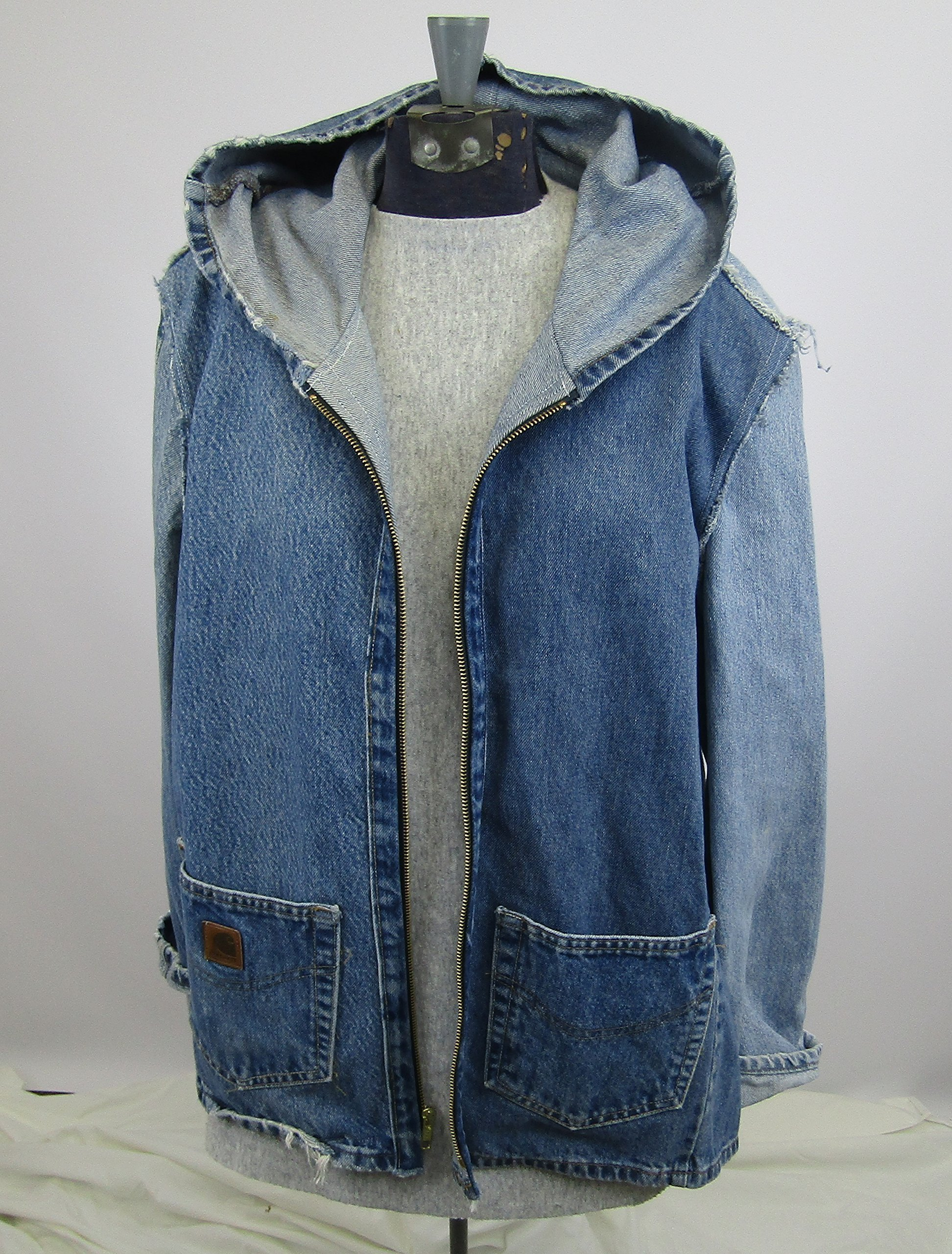 Hooded Denim Jacket Large made from repurposed jeans