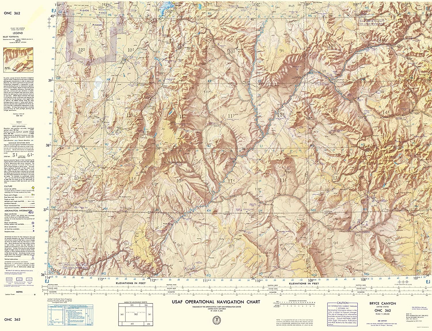 Amazon.com: Topographical Map - Bryce Canyon Utah, New Mexico ...