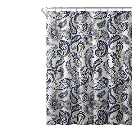 Amazon Decorative Navy Blue Gold Fabric Shower Curtain