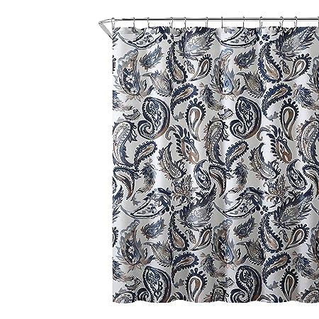 Decorative Navy Blue Gold Fabric Shower Curtain Watercolor Floral Paisley Design 72quot X