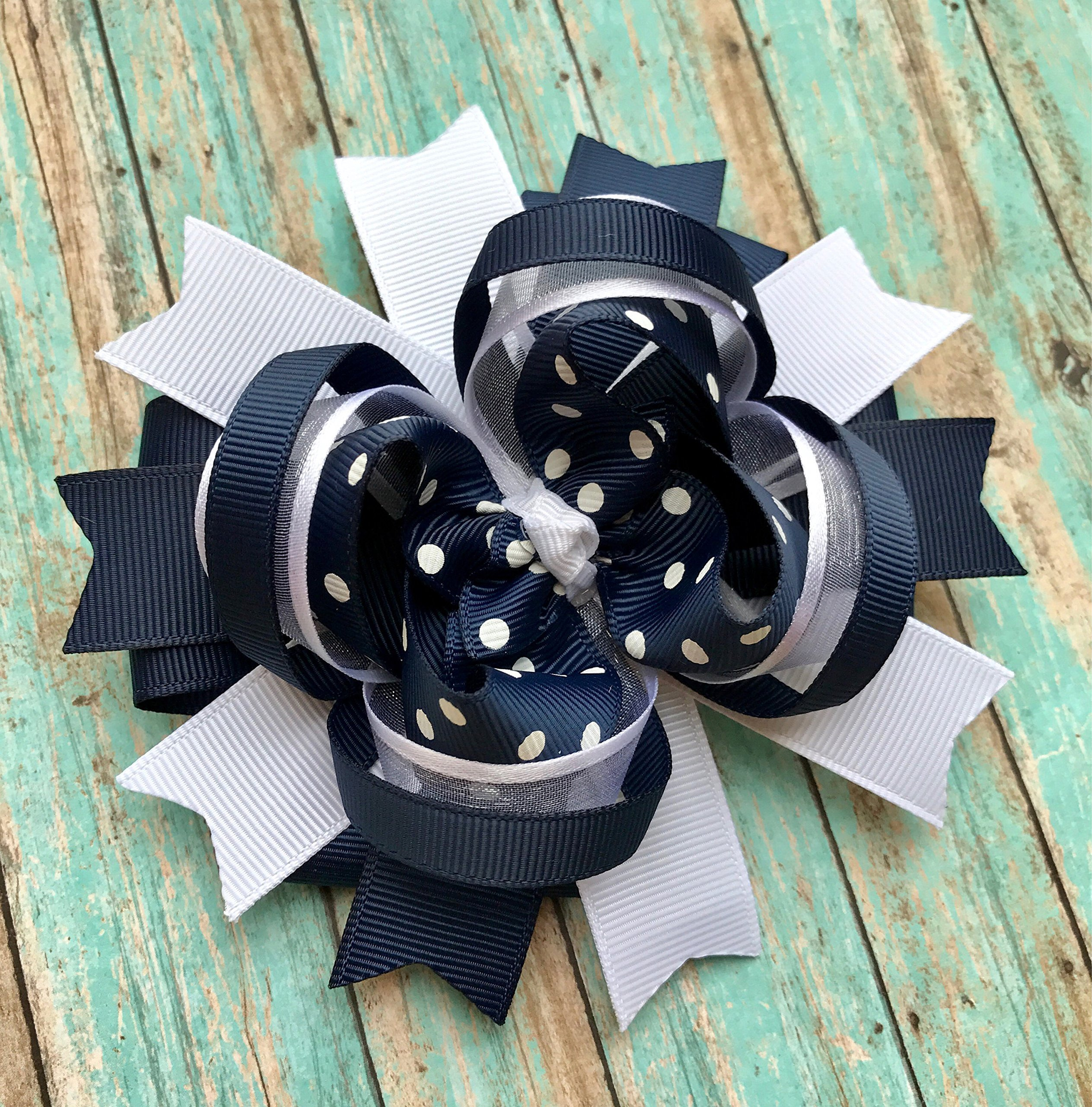 Navy and White School Uniform Hair Bow, Handmade Boutique Navy Blue and White Hair Bow Hair Clip