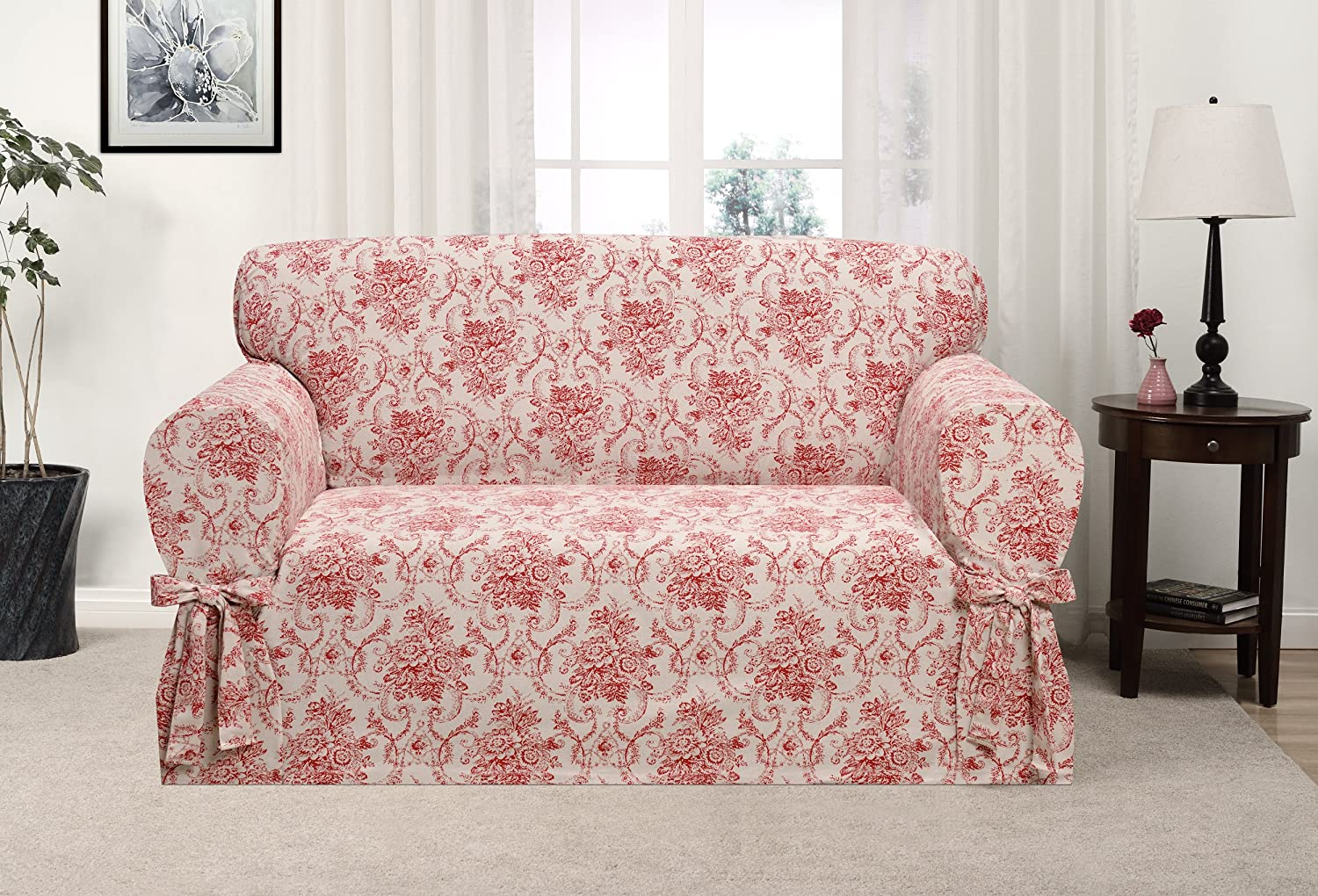 Madison Chateau LOVESEAT SLIPCOVER, Red Madison Industries CHAT-LS-RD
