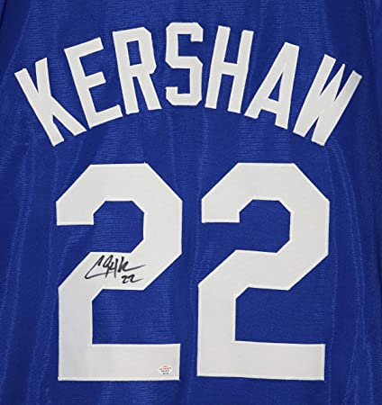 47f497294a09a Clayton Kershaw Los Angeles Dodgers Signed Autographed Blue  22 Custom  Jersey PAAS COA