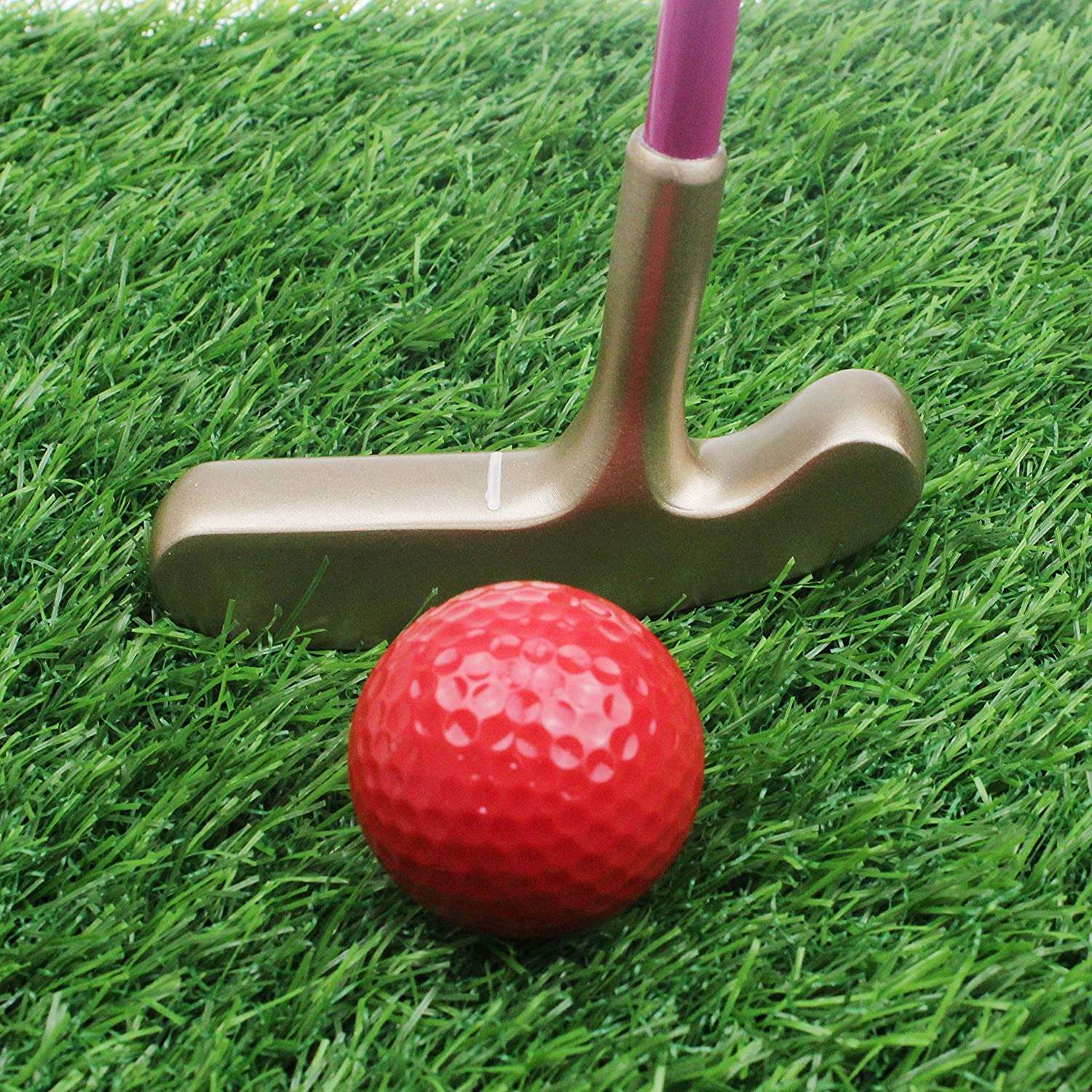 CRESTGOLF Kids Junior Rubber Golf Putter Gold Head with White Shaft and Pink Grip, Double Way, Suitable for Both Right Handed&Left Handed