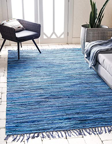 Unique Loom Chindi Cotton Collection Hand Woven Natural Fibers Area Rug_CCH002