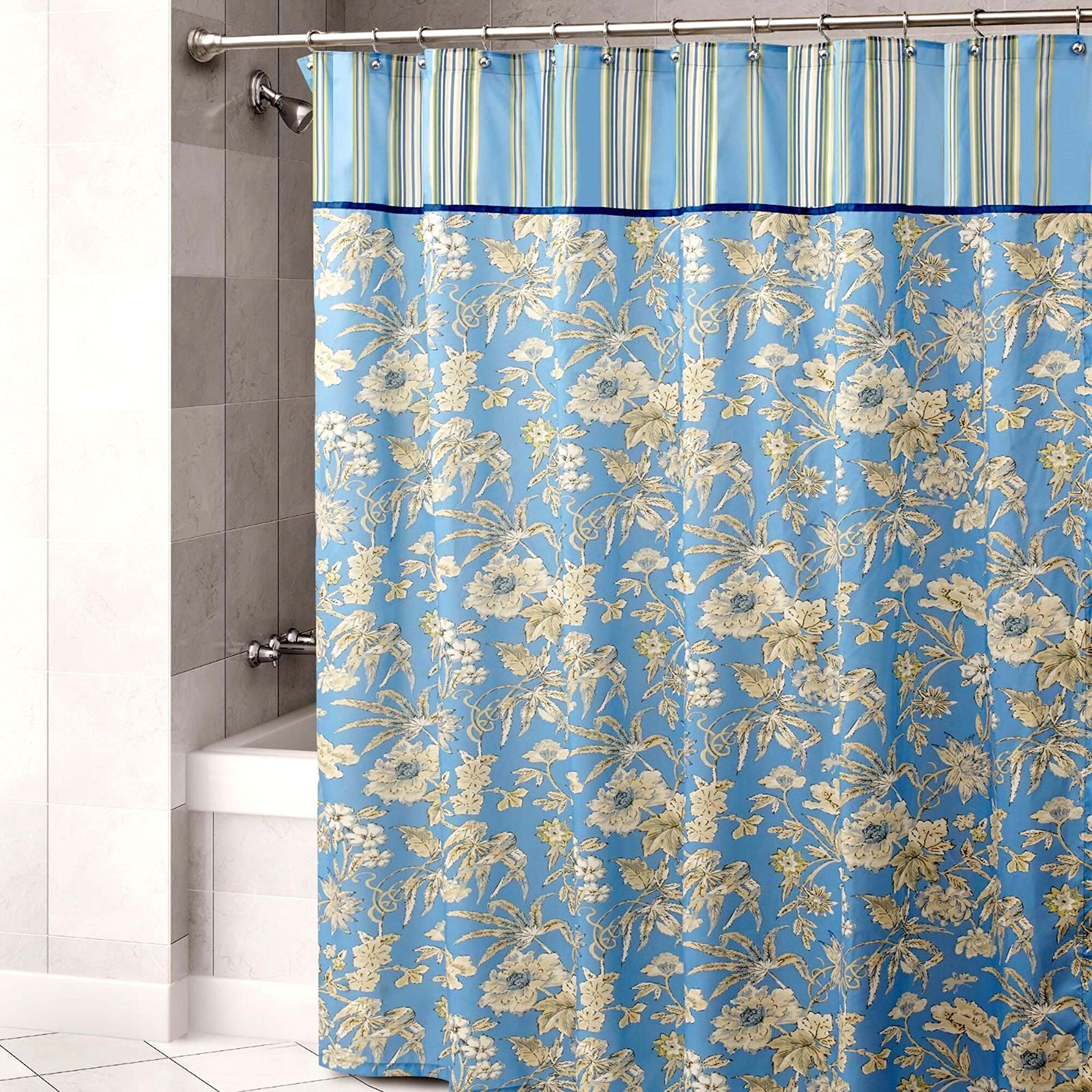 carnation designs fabric liner linen curtains home with chambray weighted shower blue fashions curtain