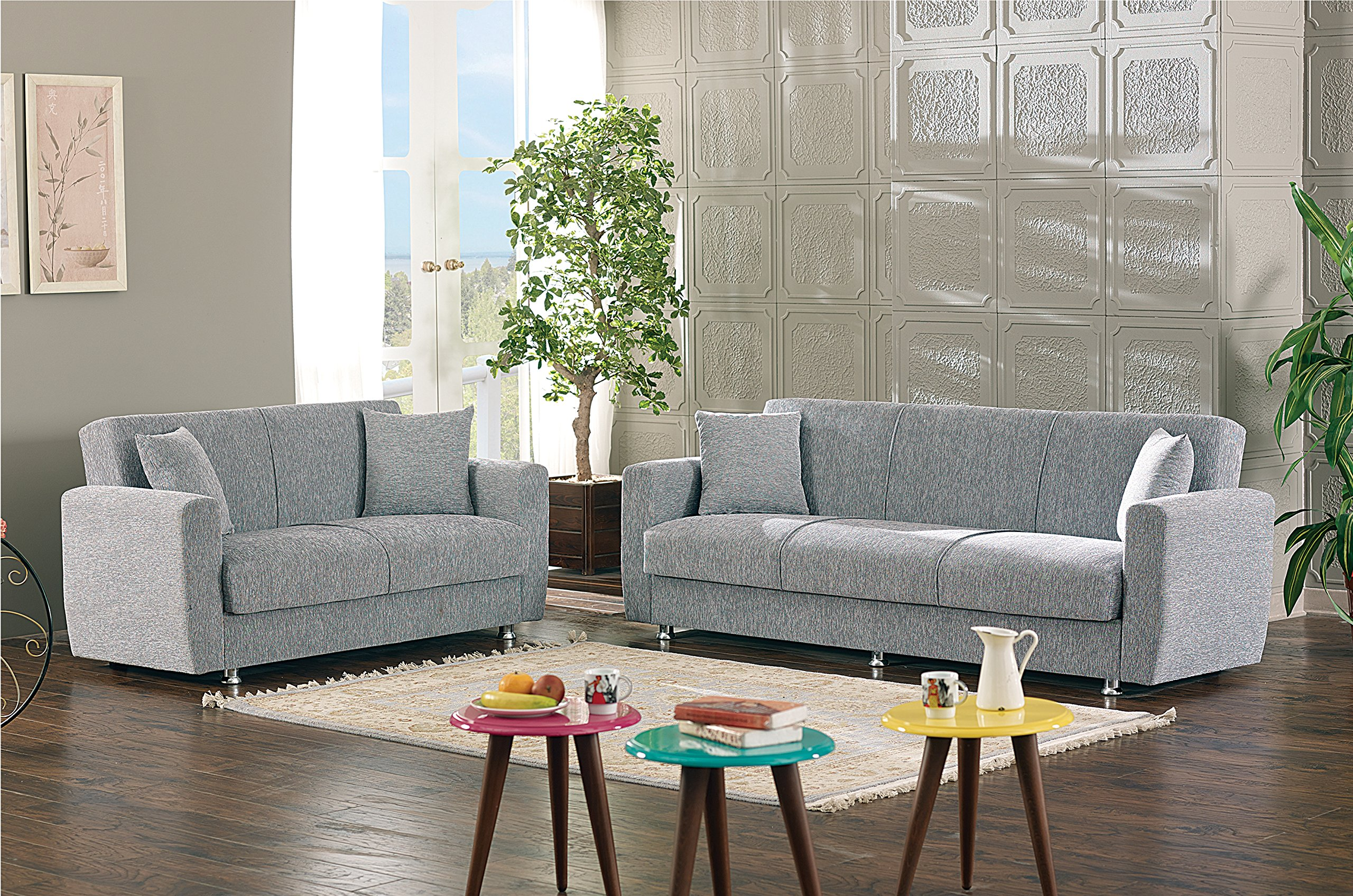 BEYAN Niagara Collection Contemporary Upholstered Convertible Storage Love Seat with Easy Access Storage Space, Includes 2 Pillows, Gray