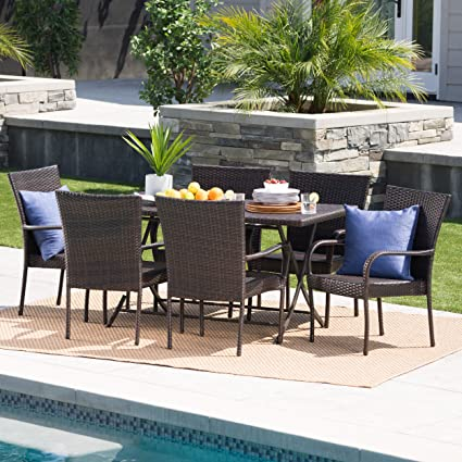 Amazon Com Christopher Knight Home Nina Outdoor 7 Piece Multi Brown Wicker Dining Set With Foldable Table And Stacking Chairs Garden Outdoor
