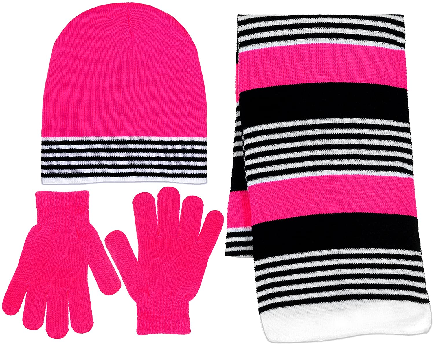 Girls 3 Piece Knit Hat Scarf /& Gloves Set in 4 Colors a Winter Accessories for Girls