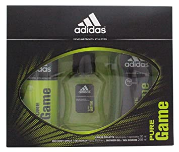 premium selection e9d09 dffd1 Image Unavailable. Image not available for. Color  Adidas 4 Piece Shower Set  for Men ~ Fragrance Pure Game ...