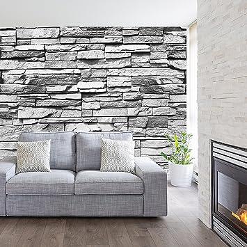 Vliestapete Tapete Steinoptik Steinwand Ziegel Wandtapete Mauer Industrie Grau