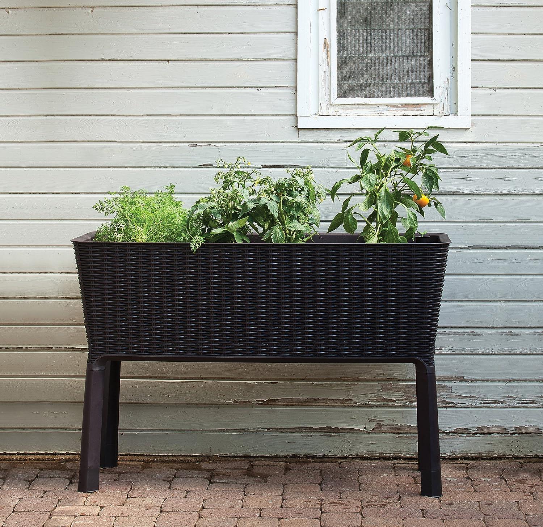 Kunststoff Hochbeet Easy Growing, Rattanoptik