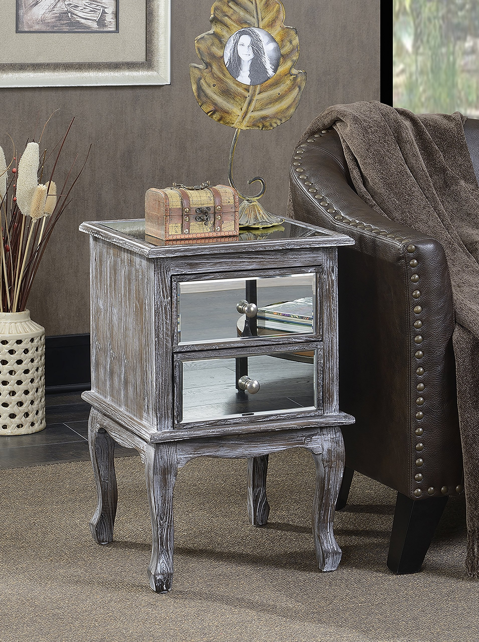 Convenience Concepts Gold Coast Collection Queen Anne Mirrored End Table, Weathered Gray