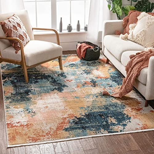 Well Woven Capri Multi Blue Pink Abstract Geometric Distressed Pattern Boho Area Rug 8×10 7 10 x 9 10