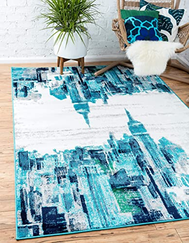 Unique Loom Metro Collection Modern Skyline Abstract City Turquoise Area Rug 9 0 x 12 0