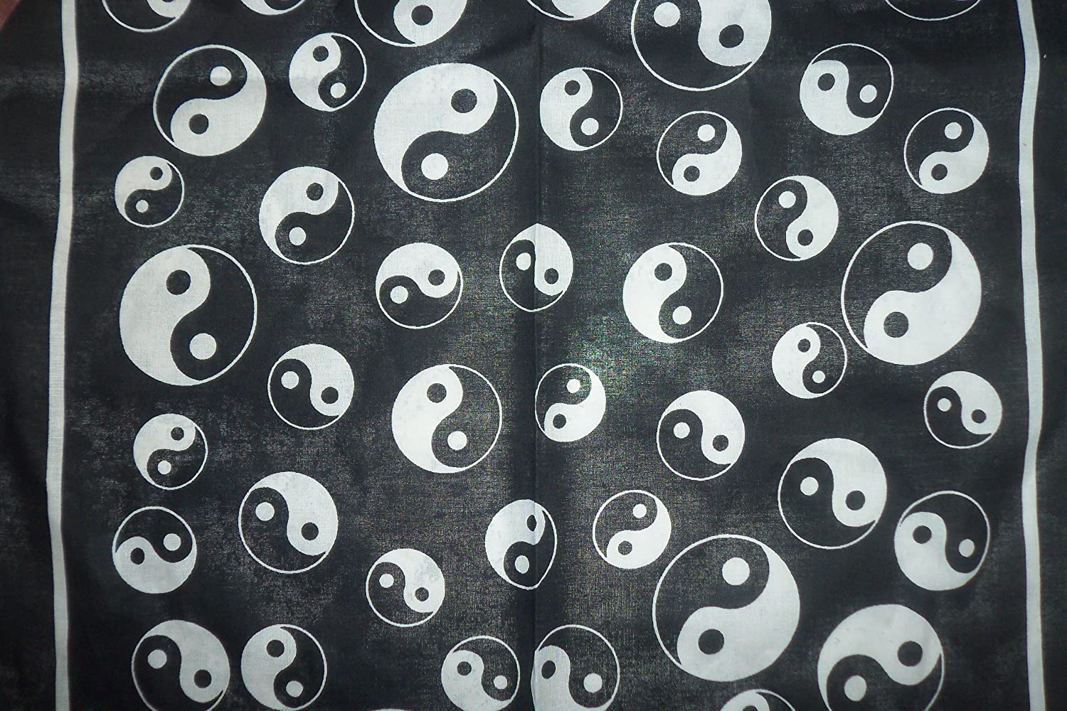 100% Cotton 55cm Square Bandana scarf , Black and white Ying Yang pattern ,Brand New item ,
