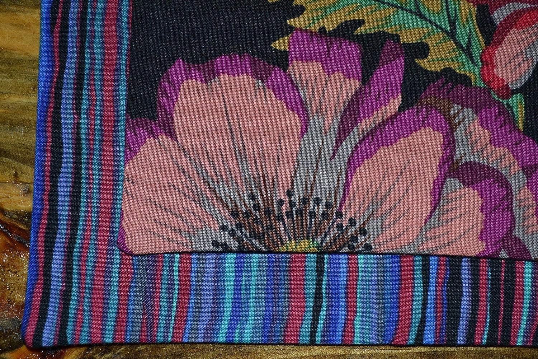 Dark Mystery Flowers Reversible Cloth Napkins//Set of 8